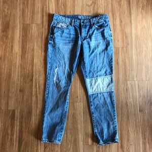 GAP Sexy Boyfriend Patchwork Distressed Jeans